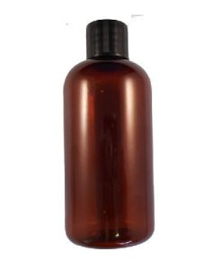 50ml tall amber plastic bottle black with black cap